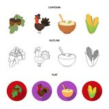 Acorns, corn.arthene puree, festive turkey,Canada thanksgiving day set collection icons in cartoon,outline,flat style. Vector symbol stock illustration Stock Photography