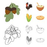 Acorns, corn.arthene puree, festive turkey,Canada thanksgiving day set collection icons in cartoon,outline style vector. Symbol stock illustration Royalty Free Stock Photo
