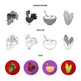 Acorns, corn.arthene puree, festive turkey,Canada thanksgiving day set collection icons in flat,outline,monochrome style. Vector symbol stock illustration Stock Photography