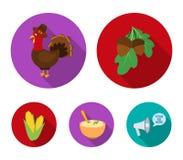 Acorns, corn.arthene puree, festive turkey,Canada thanksgiving day set collection icons in flat style vector symbol. Stock illustration Stock Photo