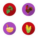 Acorns, corn.arthene puree, festive turkey,Canada thanksgiving day set collection icons in flat style vector symbol Royalty Free Stock Photos