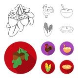 Acorns, corn.arthene puree, festive turkey,Canada thanksgiving day set collection icons in outline,flat style vector. Symbol stock illustration Royalty Free Stock Photos