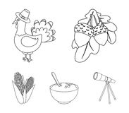 Acorns, corn.arthene puree, festive turkey,Canada thanksgiving day set collection icons in outline style vector symbol. Stock illustration Stock Photo
