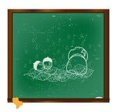 Acorns drawn in chalk on the blackboard vector Stock Image