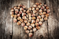 Acorns forming a heart on a wooden background Stock Images