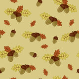 Acorns wallpaper. Acorns and autumn leaves seamless wallpaper Royalty Free Illustration
