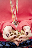 Acorns in a woman's hands Royalty Free Stock Photo
