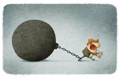 Acorrentado a um grande prisioneiro da bola Imagem de Stock
