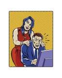 Acosso sexual fêmea ilustrado banda desenhada do local de trabalho Fotos de Stock Royalty Free