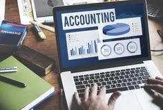 Acounting, das Balancen-Buchhaltungs-Kapital-Konzept revidiert Stockbild