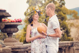 Acouple in love during pregnancy in the park Royalty Free Stock Photo