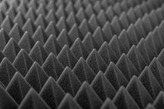 Acoustic absorbing foam for studio recording. Pyramid shape. Grey color Royalty Free Stock Images