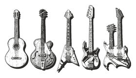 Acoustic And Electric Guitars Set Stock Images