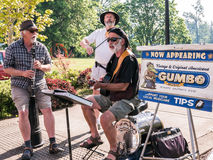 Acoustic band plays at Corvallis Farmers Market, Oregon, spring Stock Image