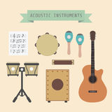 Acoustic band. Set of unplug musical instrument and sign, flat style Stock Image
