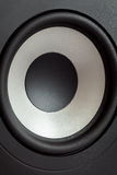 Acoustic bass loudspeaker, stereo speaker close up. Active studio monitors, audio a column a view behind on governing bodies royalty free stock image