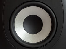 Acoustic bass loudspeaker, stereo speaker close up. Active studio monitors, audio a column a view behind on governing bodies royalty free stock photography
