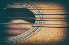 Acoustic Bass Strings and Sound Hole Royalty Free Stock Photos