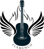 Acoustic, classic guitar emblem with wings, fire and caption FLA. Classic guitar emblem with wings, fire and caption FLAMENCO Royalty Free Stock Images