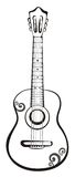 Acoustic classic guitar sketch stock illustration