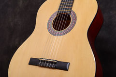 Acoustic classical guitar. Close-up deck and strings Royalty Free Stock Image