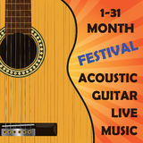 Acoustic classical guitar. Template for poster, announcement... Stock Photography