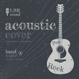 Acoustic cover. Acoustic concert show poster with acoustic guitar vector illustration Stock Image