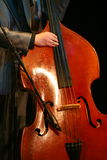 Acoustic double bass player - classic jazz. Royalty Free Stock Images