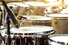 Acoustic drum set on stage before the concert.  royalty free stock image