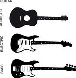Acoustic, electric and bass guitar Royalty Free Stock Photography