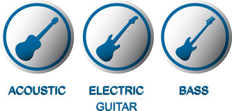Acoustic, electric and bass guitar buttons Royalty Free Stock Photo