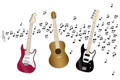 Acoustic, electric and bass guitar Stock Image