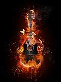 Acoustic - Electric Guitar. In Fire Flame Isolated on Black Background Stock Images