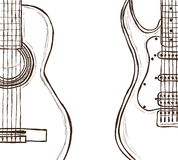 Acoustic and electric guitar. Illustration of acoustic and electric guitar - hand drawn style Royalty Free Stock Photos