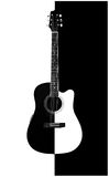 Acoustic-electric guitar. Picture of an black & white acoustic-electric guitar Royalty Free Stock Image