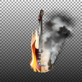 Acoustic and electric guitar on fire  smoke. Acoustic and electric guitar in fire and smoke. Isolated objects with transparency, can be used with any image or Royalty Free Stock Images