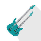 Acoustic electric guitar vector icons isolated illustration guitars silhouette music concert sound retro musical bass Royalty Free Stock Photos