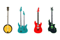 Acoustic electric guitar vector icons set isolated illustration guitars silhouette music concert sound fun melody retro Stock Image