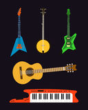 Acoustic electric guitar vector icons set isolated illustration guitars silhouette music concert sound melody retro Stock Photo