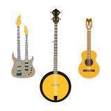 Acoustic electric guitar vector icons set isolated illustration guitars silhouette music concert sound retro musical Stock Photos