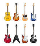 Acoustic and electric guitars Stock Images