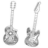 Acoustic and electric guitars hand drawn Stock Images