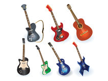 Acoustic and electric guitars set Stock Photography