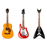 Acoustic and electric guitars set. Stock Photography
