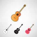 Acoustic and electric guitars set Royalty Free Stock Photography