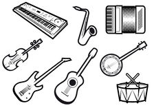 Acoustic and electric musical instruments Royalty Free Stock Photo
