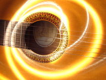 Acoustic Fender. Guitar with Light effect Royalty Free Stock Photography