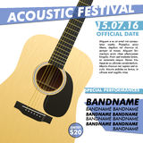 Acoustic festival performance poster in your club Indie musician concert show with realistic guitar Stock Photos
