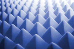 Acoustic foam - blue. Tetrahedron shaped foam stock photo