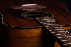 Acoustic Guiar. A close-up image of an acoustic guitar Stock Photos
